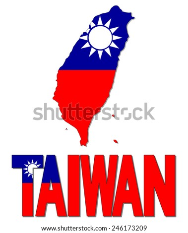 Taiwan map flag and text illustration - stock photo