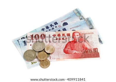 Taiwan money notes and coins on white background