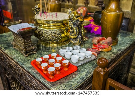 Taiwan offered to the gods to drink tea - stock photo