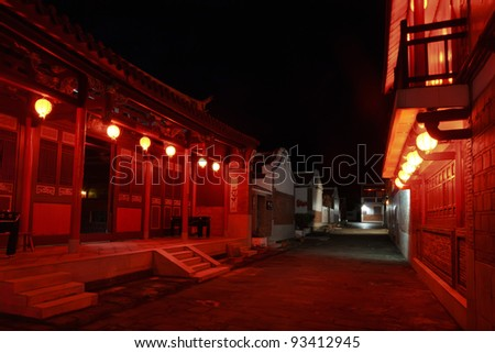 Taiwan traditional house at night