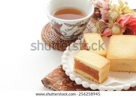 Taiwanese cuisine, pineapple cake and Chinese tea - stock photo