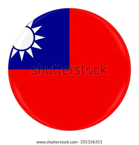 Taiwanese Flag Badge - Flag of Taiwan Button Isolated on White - stock photo