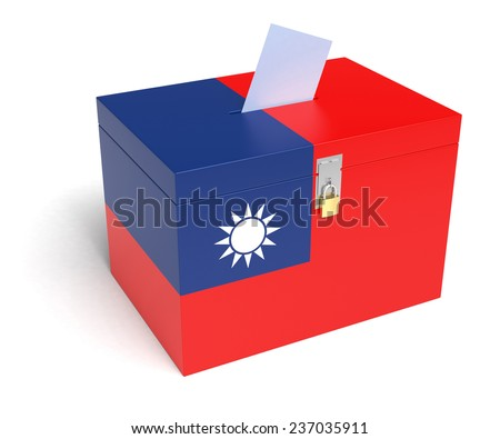 Taiwanese Flag Ballot Box. Isolated white background. 3D Rendering. - stock photo
