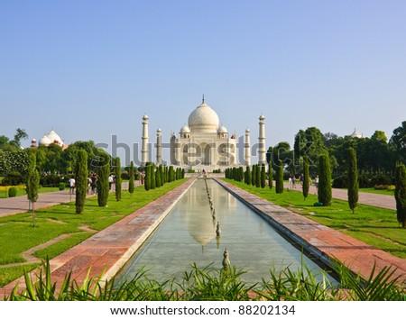 Taj Mahal and pool view, India - stock photo