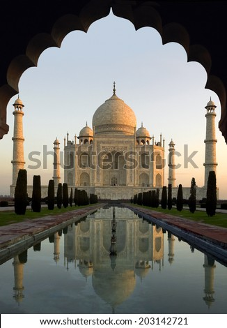 Taj Mahal at Dawn - The Taj Mahal is a white marble mausoleum in Agra, Uttar Pradesh, India. Built by Mughal Emperor Shah Jahan in memory of his third wife, Mumtaz Mahal. UNESCO World Heritage Site.