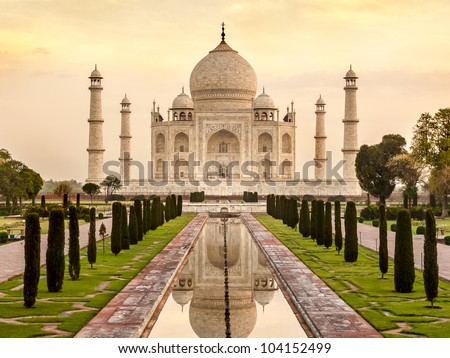 Taj Mahal at sunrise, Agra, India - stock photo