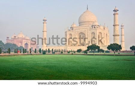 Taj Mahal at sunrise, Agra, India. - stock photo
