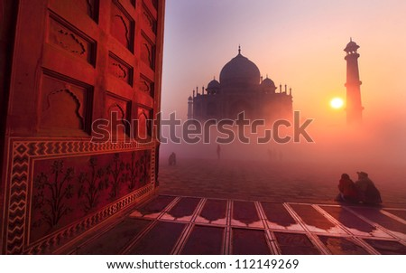 Taj Mahal at sunrise, India - stock photo