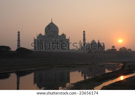 taj mahal at sunset. taj mahal, india, unesco world heritage site - stock photo