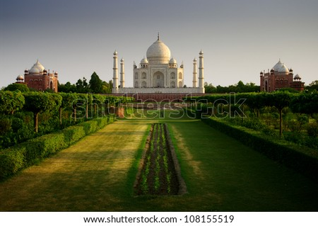Taj mahal from the garden side - stock photo