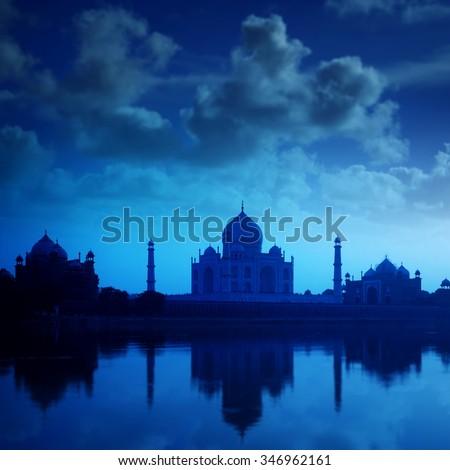 Taj Mahal in Agra, India in night - stock photo