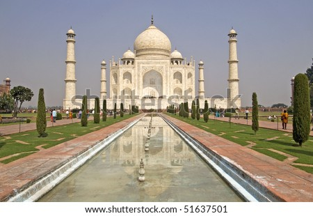 Taj Mahal in Agra, India. It was built by Mughal emperor Shah Jahan in memory of his third wife, Mumtaz Mahal - stock photo