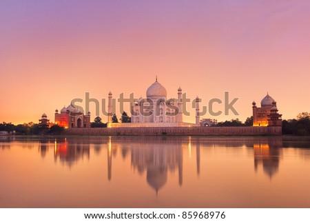 Taj Mahal in Agra, India on sunset - stock photo