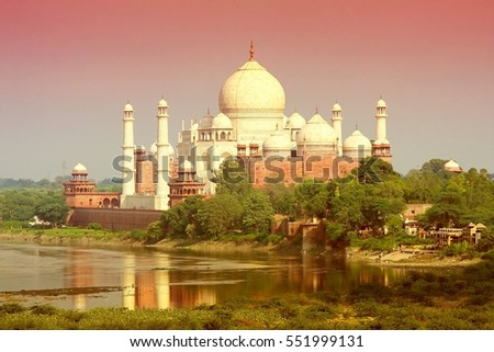 Taj Mahal in Agra, India (purple light effect)