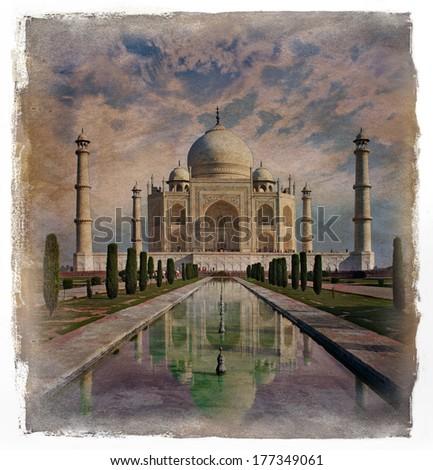 Taj Mahal in Agra, India.Vintage painting effect.  - stock photo