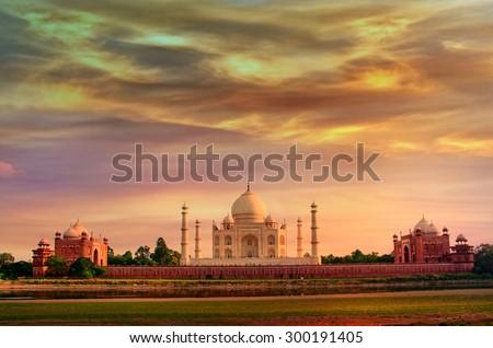 Taj Mahal in Agra, Uttar Pradesh, India - stock photo
