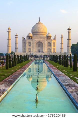 Taj Mahal in sunrise light, Agra, India - stock photo