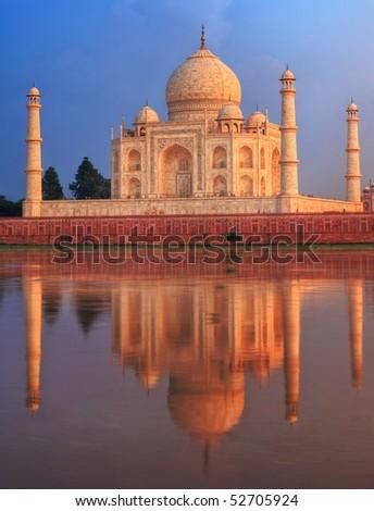 Taj Mahal in the sunset light - stock photo