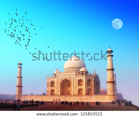 Taj Mahal India, Agra. 7 world wonders. Beautiful Tajmahal travel destination  - stock photo