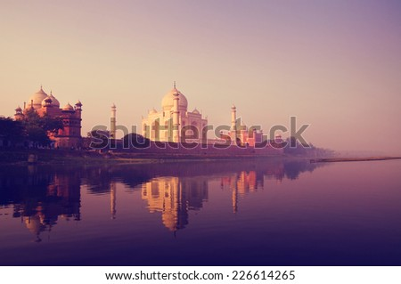 Taj Mahal India Seven Wonders Concept - stock photo