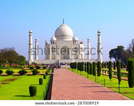 Taj Mahal mausoleum in Agra, India - stock photo