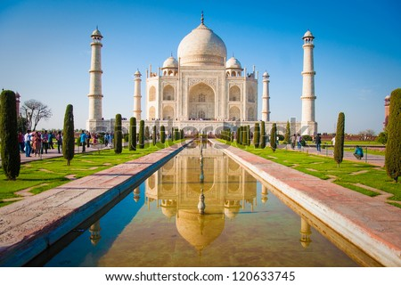 Taj Mahal on a bright and clear day - stock photo