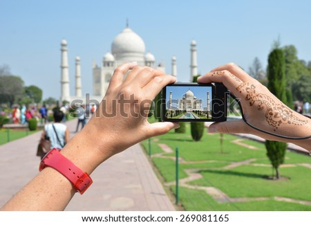 Taj Mahal on the screen of a camera. Agra, India - stock photo