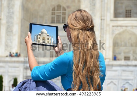 Taj Mahal on the screen of a tablet. Agra, India