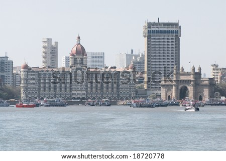 Taj Mahal Palace Hotel and monument the Gateway of India - stock photo