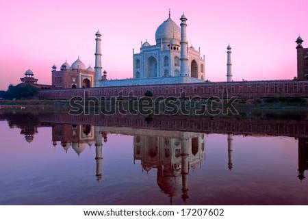 Taj Mahal palace in India on sunset - stock photo