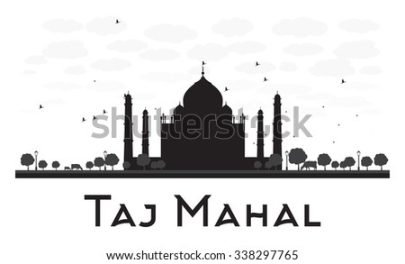 Taj Mahal skyline black and white silhouette. Simple flat concept for tourism presentation, banner, placard or web site. Business travel concept. Cityscape with famous landmark - stock photo