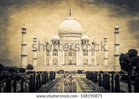 Taj Mahal vintage retro - stock photo