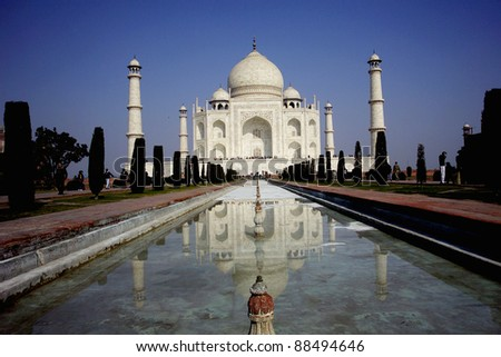 Taj Mahal ,world famous monument,  India, Agra, Uttar Pradesh - stock photo