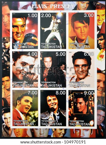 TAJIKISTAN - CIRCA 2001: collection stamps shows Elvis Presley, circa 2001 - stock photo