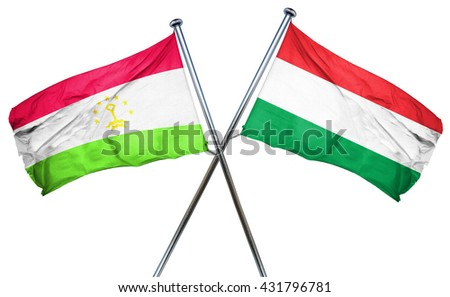 Tajikistan flag with Hungary flag, 3D rendering