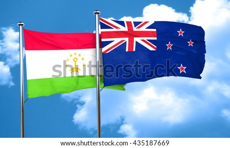 Tajikistan flag with New Zealand flag, 3D rendering