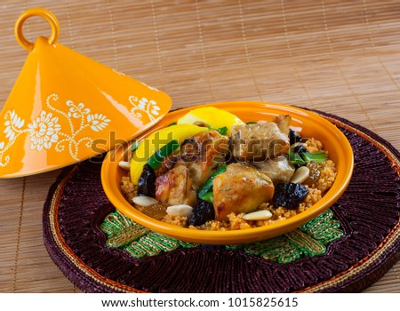 Tajine, Moroccan food, with cous cous, chicken and lemon confit.
