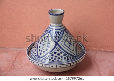 Tajine, traditional moroccon pottery tool for cooking - stock photo
