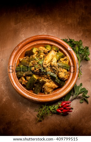 tajine with meat vegetables and spice - stock photo
