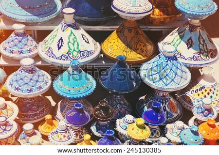 Tajines in shop in the medina of Tunis,Tunisia - stock photo