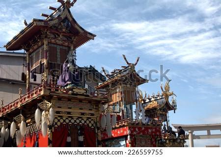 TAKAYAMA, JAPAN - SEPTEMBER 29: Takayama Festival at September 29, 2014 in Takayama, Japan. This is one of the biggest Shinto festival in Japan held annually. - stock photo