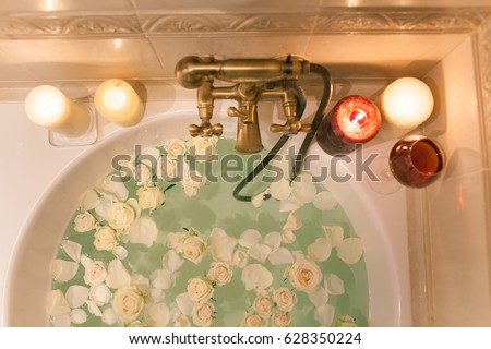 Take Bath Rose Petals Candles Romantic Stock Photo (Edit ...
