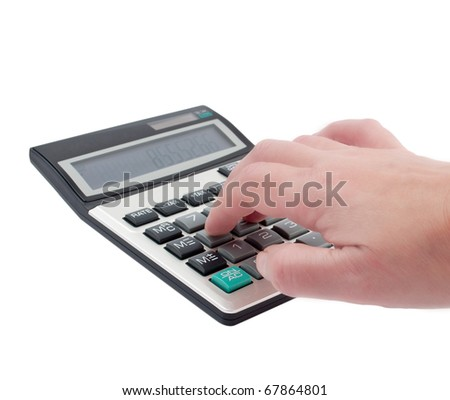 take a hand on the calculator on a white background
