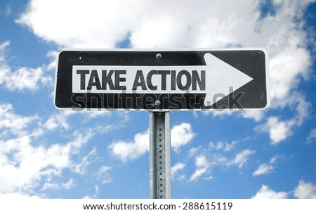 Take Action direction sign with sky background - stock photo