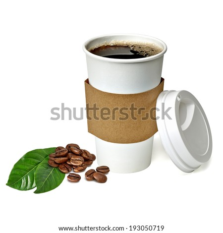 Take away coffee cup with beans and leaves on white background - stock photo