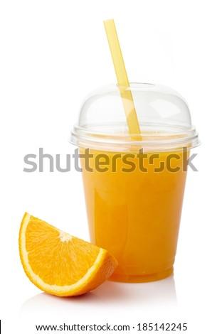 Take away glass of fresh orange juice isolated on white background - stock photo