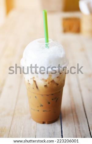 take away ice cappuccino coffee - stock photo