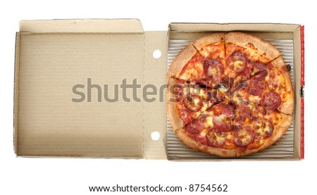 Take away pepperoni pizza on opened up card board delivery box. - stock photo