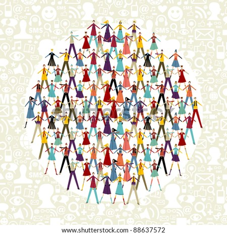 Take by hands people group in circle shape. Social icons set pattern background. - stock photo