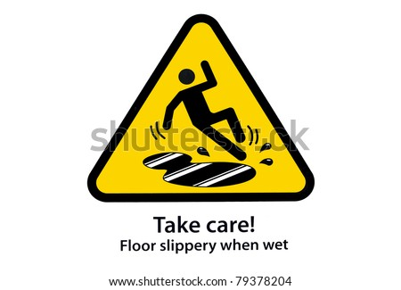 take care floor slippery when wet - stock photo